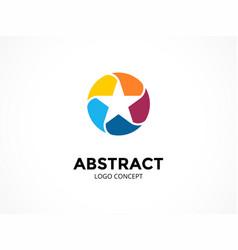 star logo template modern abstract circle vector image