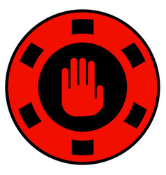 Stop gambling hand flat icon vector