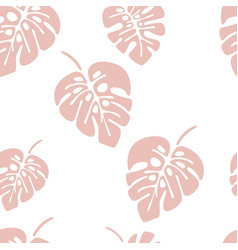 Summer seamless pattern with pink monstera palm vector
