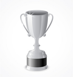 Tall silver trophy cup vector