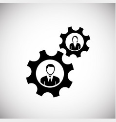 team collaboration gears on white background vector image