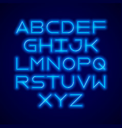 Thin neon tube modern font typeface vector