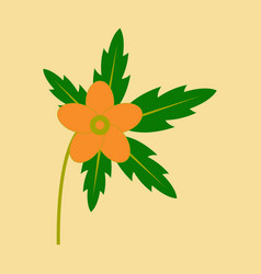 tree leaf with flower in flat style vector image