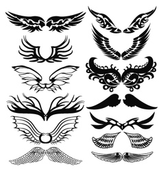 Tribal tattoo set of wings vector