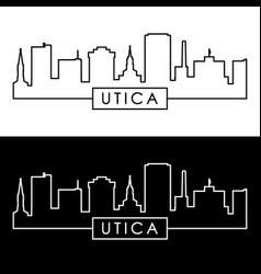 utica city skyline linear style editable file vector image