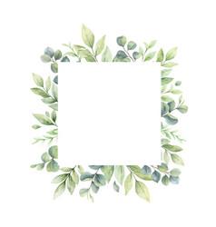 Watercolor frame green branches vector