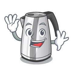 Waving plastic electric kettle isolated on cartoon vector