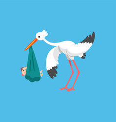 white stork carrying newborn baby template for vector image