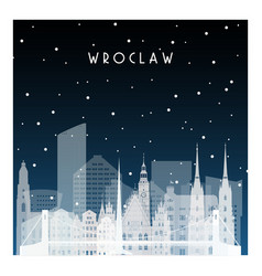 winter night in wroclaw night city in flat style vector image