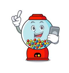with phone gumball machine character cartoon vector image