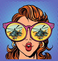 woman with sunglasses military helicopter in vector image