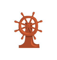 Wooden steering wheel of a ship cartoon vector