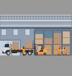 workers man loading the truck with pallets of vector image