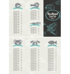 booklet menu with price list for seafood vector image