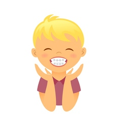 Children braces happy boy with white smile teeth vector image