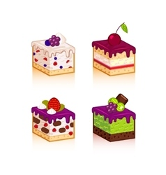 Collection of various cakes vector image vector image