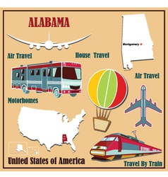 Flat map of Alabama vector image vector image