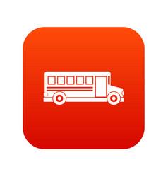 school bus icon digital red vector image