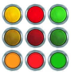 set of round buttons of red orange and green vector image