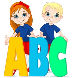 Two kids and letters vector image vector image