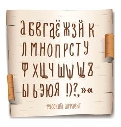 Russian alphabet birch-bark background vector image vector image