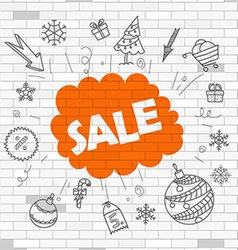 White brick wall and graffiti label vector image vector image