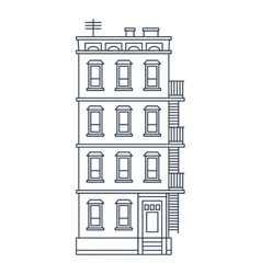 - line drawn old building with balcony and stairs vector image vector image