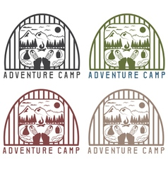 Adventure camp with elements of hiking and boots vector