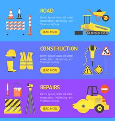 cartoon road construction banner horizontal set vector image vector image