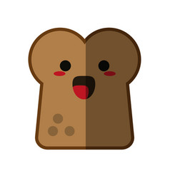 Kawaii bread slice icon image vector