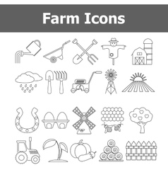 Outline farm icons vector image vector image
