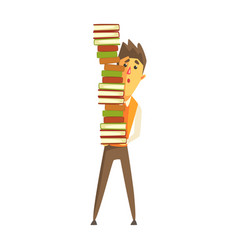 student standing and holding a pile of books vector image