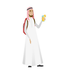 young muslim traveler man drinking cocktail vector image