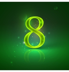 8 Green glowing number eight vector image