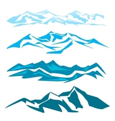 A set of several mountain obrozovanie vector image