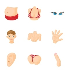 Body icons set cartoon style vector image vector image