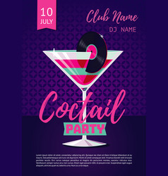 coctail party poster for nightclub with glass and vector image vector image