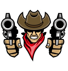 cowboy mascot aiming the guns vector image