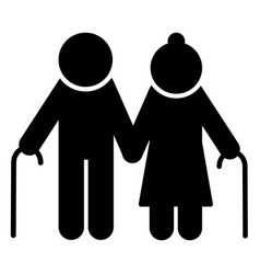elderly couple icon old people silhouette symbol vector image