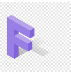 f letter in isometric 3d style with shadow vector image
