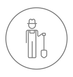 Farmer with shovel line icon vector image