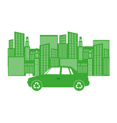monochrome background with city buildings and car vector image vector image
