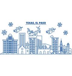 usa texas el paso winter city skyline merry vector image