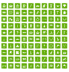 100 crown icons set grunge green vector