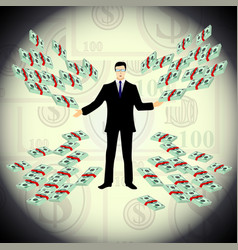 a man offers money many dollars vector image