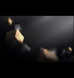 Abstract gold and black 3d cube chaotic vector