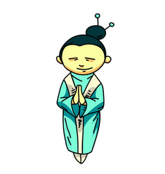 asian woman cartoon hand drawn image vector image