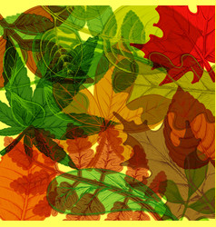 background hand drawn colorful autumn leaves vector image