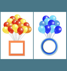 balloons big bundle with round and square frame vector image