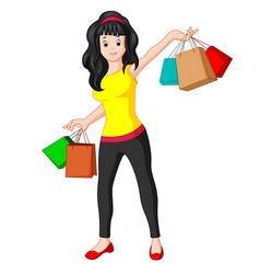 Beautiful shooping woman with bags vector